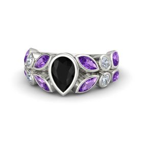 Pear Black Onyx 18K White Gold Ring with Amethyst and Diamond