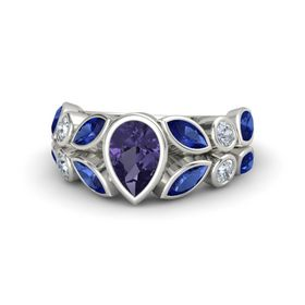 Pear Iolite 18K White Gold Ring with Blue Sapphire and Diamond