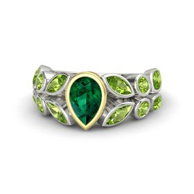 Pear Emerald 18K White Gold Ring with Peridot