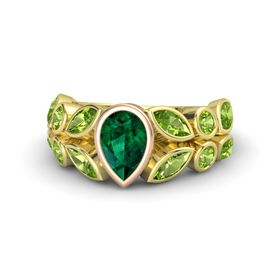 Pear Emerald 18K Yellow Gold Ring with Peridot