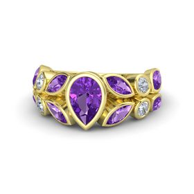 Pear Amethyst 18K Yellow Gold Ring with Amethyst & Diamond