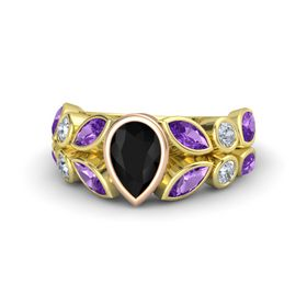 Pear Black Onyx 18K Yellow Gold Ring with Amethyst and Diamond