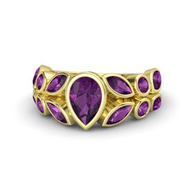 Pear Rhodolite Garnet 18K Yellow Gold Ring with Rhodolite Garnet