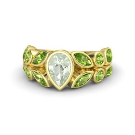 Pear Green Amethyst 18K Yellow Gold Ring with Peridot