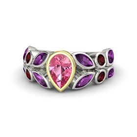 Pear Pink Tourmaline Palladium Ring with Rhodolite Garnet & Red Garnet