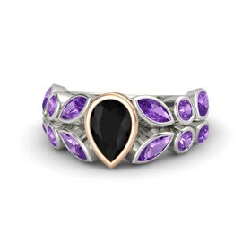 Pear Black Onyx Palladium Ring with Amethyst