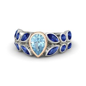 Pear Aquamarine Palladium Ring with Blue Sapphire