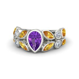 Pear Amethyst Palladium Ring with Citrine & Diamond