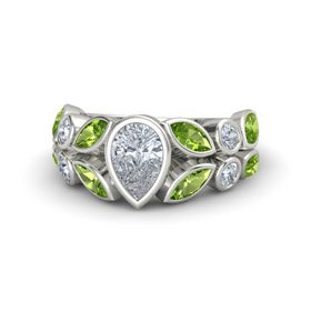 Pear Diamond Palladium Ring with Peridot and Diamond
