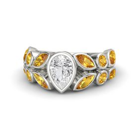 Pear White Sapphire Palladium Ring with Citrine