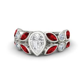 Pear White Sapphire Palladium Ring with Ruby and Diamond