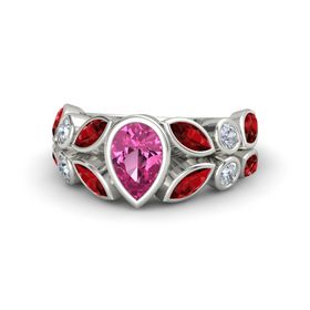 Pear Pink Sapphire Palladium Ring with Ruby and Diamond