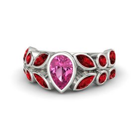 Pear Pink Sapphire Palladium Ring with Ruby