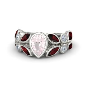 Pear Rose Quartz Palladium Ring with Red Garnet and Diamond
