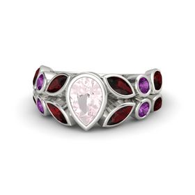 Pear Rose Quartz Palladium Ring with Red Garnet and Rhodolite Garnet