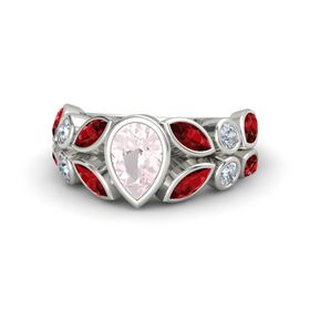 Pear Rose Quartz Palladium Ring with Ruby and Diamond