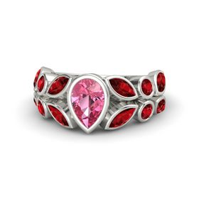 Pear Pink Tourmaline Palladium Ring with Ruby