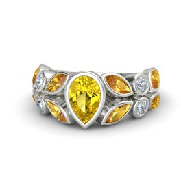 Pear Yellow Sapphire Palladium Ring with Citrine and Diamond