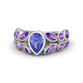 Pear Tanzanite Palladium Ring with Amethyst