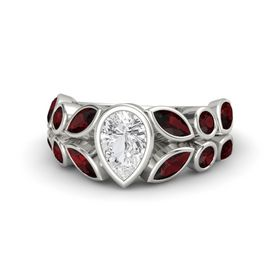 Pear White Sapphire Palladium Ring with Red Garnet