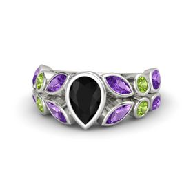 Pear Black Onyx Palladium Ring with Amethyst and Peridot