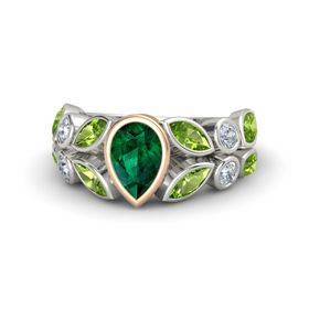Pear Emerald Platinum Ring with Peridot and Diamond