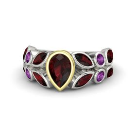 Pear Red Garnet Platinum Ring with Red Garnet and Rhodolite Garnet