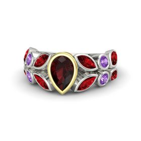 Pear Red Garnet Platinum Ring with Ruby and Amethyst
