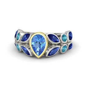 Pear Blue Topaz Platinum Ring with Blue Sapphire and London Blue Topaz
