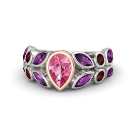 Pear Pink Tourmaline Platinum Ring with Rhodolite Garnet and Red Garnet