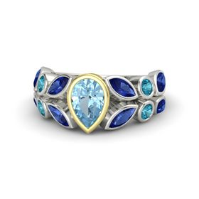 Pear Aquamarine Platinum Ring with Blue Sapphire and London Blue Topaz