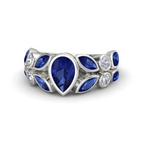 Pear Sapphire Platinum Ring with Sapphire & Diamond