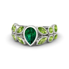Pear Emerald Platinum Ring with Peridot