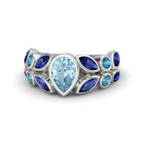 Pear Aquamarine Platinum Ring with Sapphire & London Blue Topaz