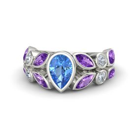 Pear Blue Topaz Platinum Ring with Amethyst & Diamond