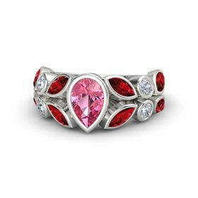 Pear Pink Tourmaline Platinum Ring with Ruby and Diamond