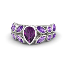 Pear Rhodolite Garnet Platinum Ring with Amethyst