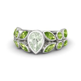 Pear Green Amethyst Platinum Ring with Peridot