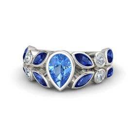 Pear Blue Topaz Platinum Ring with Blue Sapphire and Diamond