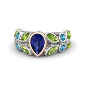 Pear Blue Sapphire Sterling Silver Ring with Peridot and London Blue Topaz