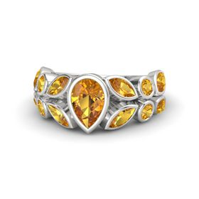 Pear Citrine Sterling Silver Ring with Citrine