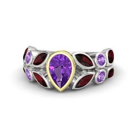 Pear Amethyst Sterling Silver Ring with Red Garnet and Amethyst