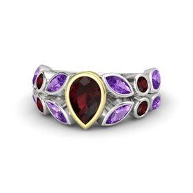 Pear Red Garnet Sterling Silver Ring with Amethyst and Red Garnet
