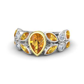Pear Citrine Sterling Silver Ring with Citrine & Diamond