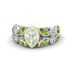 Pear Green Amethyst Sterling Silver Ring with Peridot and Diamond