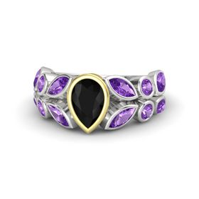 Pear Black Onyx Sterling Silver Ring with Amethyst