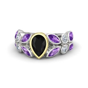 Pear Black Onyx Sterling Silver Ring with Amethyst and Diamond