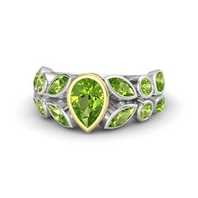 Pear Peridot Sterling Silver Ring with Peridot