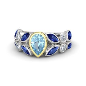 Pear Aquamarine Sterling Silver Ring with Sapphire & Diamond