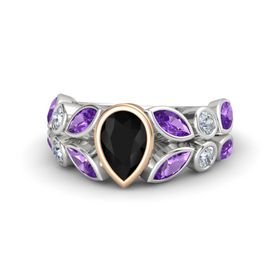 Pear Black Onyx Sterling Silver Ring with Amethyst & Diamond